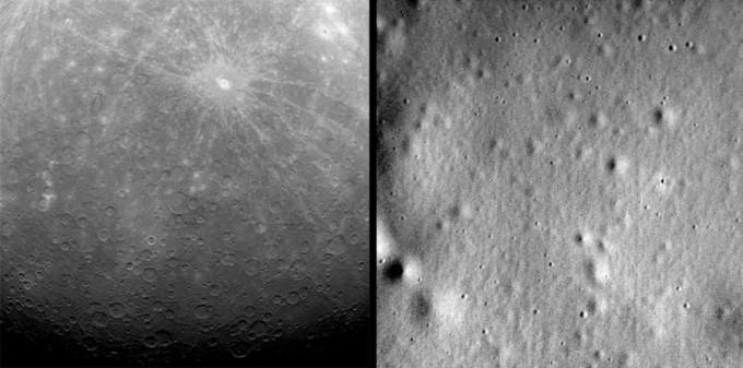 5_메신저호가 수성 궤도에 진입한 뒤 보낸 첫 이미지(왼쪽, 2011년 3월 29일)과 마지막 이미지(오른쪽, 2015년 4월 30일). 메신저호는 미션을 수행하면 10만 장에 가까운 이미지 데이터를 보냈다. - NASA 제공